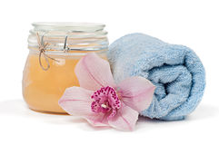 Spa accessories on white background Stock Images