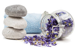 Spa accessories on white. Studio shot of spa accessories. Isolated on white Royalty Free Stock Photo