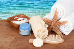 Spa accessories with white towels Stock Images