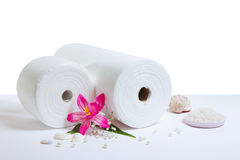 Spa accessories: white towels Stock Photo