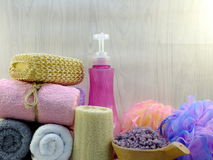 Free Spa Accessories With Shampoo Soap And Shower Cream Bathroom Products Stock Image - 96959131