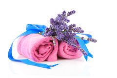 Free Spa Accessories With Towels And Lavender Royalty Free Stock Images - 15828159