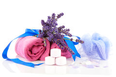 Free Spa Accessories With Towels And Lavender Royalty Free Stock Image - 15828176