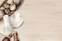 Spa accessories on wooden background Stock Photography