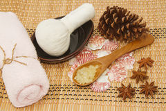 Spa accessories on wooden mat Royalty Free Stock Photos