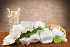 Spa accessories on wooden table Royalty Free Stock Photos