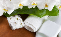 Spa accessories on wooden table Stock Image