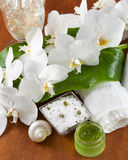 Spa accessories on wooden table Stock Photos