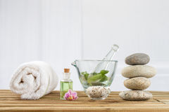 Spa accessories and  zen stones Stock Photos