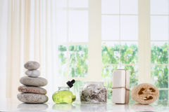Spa accessories and  zen stones Royalty Free Stock Photos