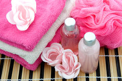 Spa accessory. Pink colored bath accessory, isolated on white background stock photo
