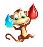 Spaß-Affezeichentrickfilm-figur mit Blutstropfen und Wasser fällt Stockbild