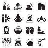 Spa & alternative therapy icons set Stock Photos