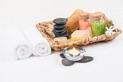 Spa Amenities In A Basket Close-up Stock Photo