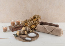 Free Spa And Bath Essentials Rustic Candlelit Stock Images - 62797954