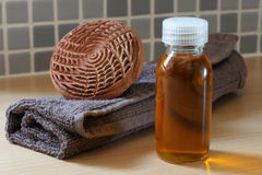 SPA Argan oil with towel Stock Photos
