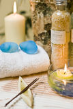 Spa aroma. A set of spa items with aroma sticks and bottle of bath mineral powder Stock Photos