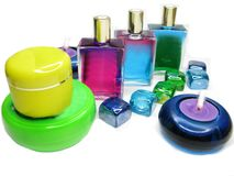 Spa aroma oils essences cosmetics. Spa aroma oils essences set for aromatherapy Stock Photo