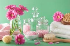 SPA aromatherapy με τη βούρτσα ουσιαστικού πετρελαίου λουλουδιών gerbera Στοκ Φωτογραφία