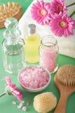 SPA aromatherapy με τη βούρτσα ουσιαστικού πετρελαίου λουλουδιών gerbera Στοκ Εικόνες