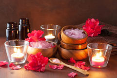 Spa aromatherapy with azalea flowers and herbal salt on rustic d stock image