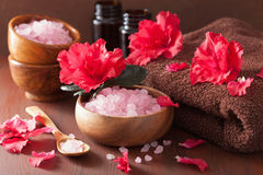 Spa aromatherapy with azalea flowers and herbal salt on rustic d royalty free stock photos