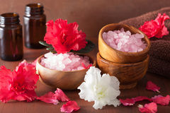 Spa aromatherapy with azalea flowers and herbal salt on rustic d royalty free stock photography