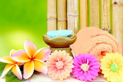 Spa aromatherapy and bamboo background. Stock Photos