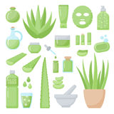 Spa and aromatherapy flat  icons set. Big set of design healthcare and cosmetology objects isolated on the white background,  illustration Stock Photos