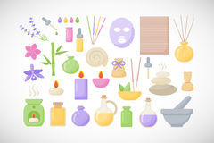 Spa and aromatherapy  flat icons set. Spa and aromatherapy  flat icons, big set of flat design healthcare and medicine objects isolated on the dark background Stock Photos