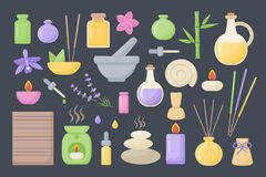 Spa and aromatherapy  flat icons set. Spa and aromatherapy icons, big set of flat design healthcare and medicine objects isolated on the dark background Royalty Free Stock Photos