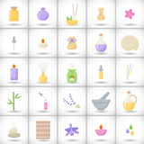 Spa and aromatherapy  flat icons set. Spa and aromatherapy  flat icons, big set of  25 flat designs of spa, massage, healthcare and medicine objects isolated Stock Photo