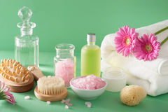Spa aromatherapy with gerbera flowers essential oil brush Stock Photo