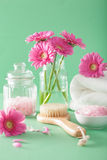 Spa aromatherapy with gerbera flowers herbal salt  brush Stock Images
