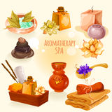 Spa and aromatherapy illustration icon set in a cartoon style Royalty Free Stock Photography