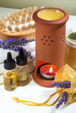 Spa aromatherapy lavender. Some objects of relaxation and body treatment Stock Photos