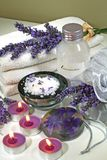 Spa aromatherapy lavender. Some objects of relaxation and body treatment,aromatherapy lavender Stock Images