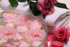 Spa aromatherapy rose. Some objects of relaxation and body treatment Stock Photo