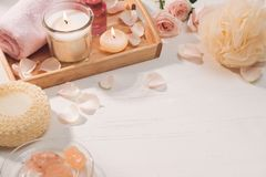 Spa and aromatherapy. Rose flower and essential oil. Spa and aromatherapy. Rose flower and essential oil stock photo