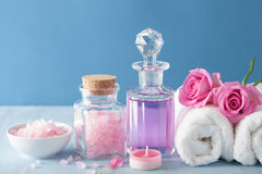 Spa aromatherapy with rose flowers perfume and herbal salt Stock Photo