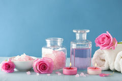 Spa aromatherapy with rose flowers perfume and herbal salt Royalty Free Stock Photos