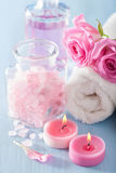 Spa aromatherapy with rose flowers perfume and herbal salt Stock Photography