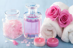 Spa aromatherapy with rose flowers perfume and herbal salt Royalty Free Stock Images