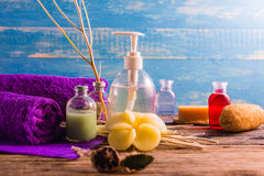 Spa aromatherapy A series of Spa aroma therapy on the wooden desk. Aroma Spa is a relaxing way to relieve stress. With the scent of essential oils The scent of Royalty Free Stock Images