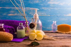 Spa aromatherapy A series of Spa aroma therapy on the wooden desk. Aroma Spa is a relaxing way to relieve stress. With the scent of essential oils The scent of Stock Photo