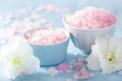 Spa aromatherapy set with azalea flowers and herbal salt Stock Photo