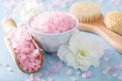 Spa aromatherapy set with azalea flowers and herbal salt royalty free stock photos