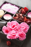 Spa and aromatherapy set in black box Royalty Free Stock Image