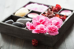 Spa and aromatherapy set in black box Royalty Free Stock Photos