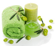 Spa and aromatherapy set with olives Royalty Free Stock Photography